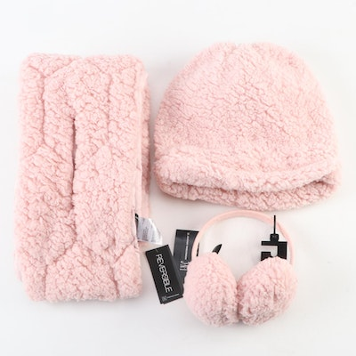 INC Scarf, Beanie, and Earmuffs Set in Blush