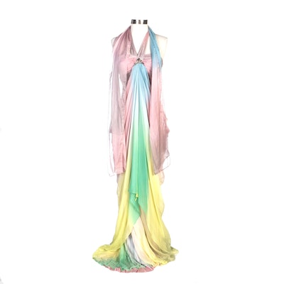 Alberto Makali Pastel Ombré Draped Halter Evening Gown with Shoulder Wrap
