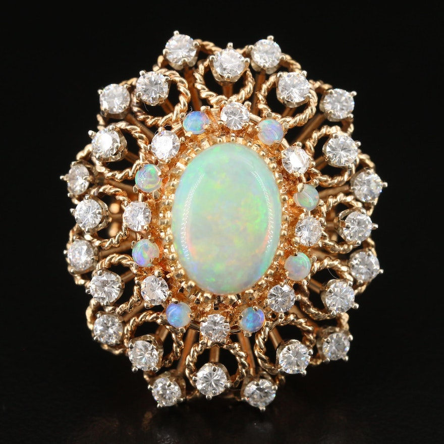 1960s 14K Opal and 2.68 CTW Diamond Ring with Rope Textured Design