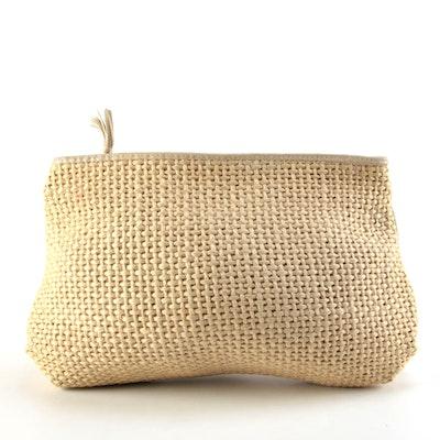 Bottega Veneta Woven Jute Accessory Pouch with Leather Trim