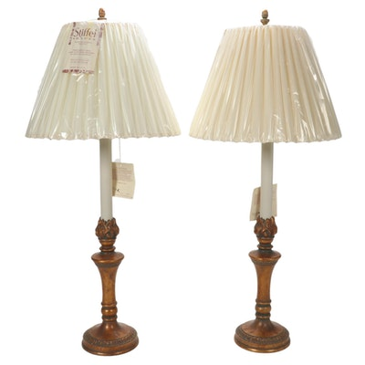 Pair of Stiffel Torch Style Burnished Brass Table Lamps, Late 20th Century