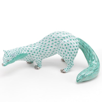 "Herend Green Fishnet with Platinum ""Beech Marten"" Porcelain Figurine"