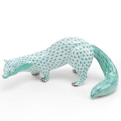 "Herend Green Fishnet with Platinum ""Beech Marten"" Porcelain Figurine"