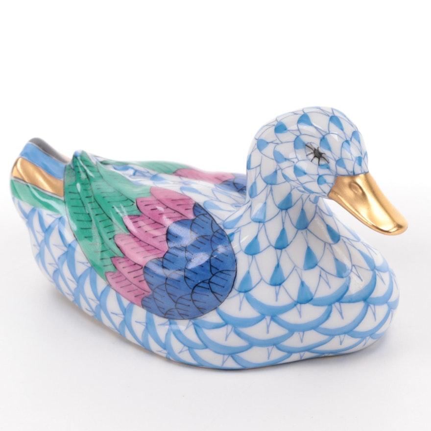 """Herend Blue Fishnet """"Duck"""" Porcelain Figurine"""