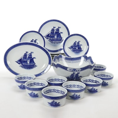 Blue and White Porcelain Dishware and Other Table Accessories