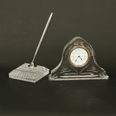Waterford Crystal Giftware Desk Pen and Clock, 21st Century