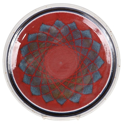 Timothy Cundiff Wheel Thrown Art Pottery Plate, Late 20th Century