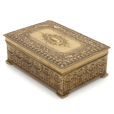 Victorian Style Gilt Metal Metal Relief Jewelry Box, Mid-20th Century