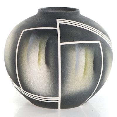 Glazed Earthenware of Geometric Patterned Vase, Late 20th Century