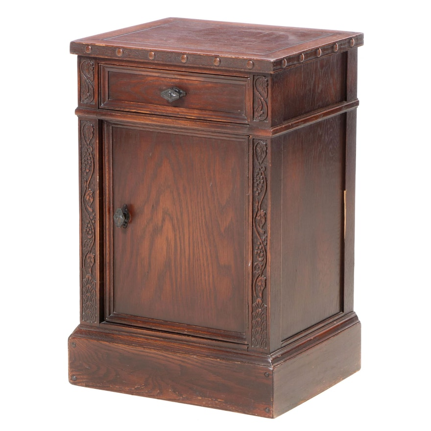 Romweber Relief-Carved Oak Side Cabinet, 20th Century