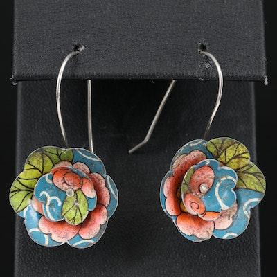 Vintage Enamel Floral Earrings