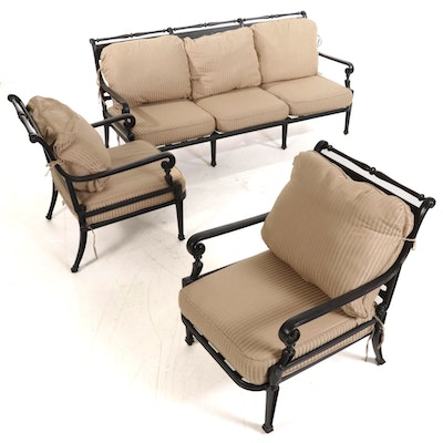 """Frontgate """"Carlisle"""" Outdoor Patio Sofa and Chairs in Slate Finish"""