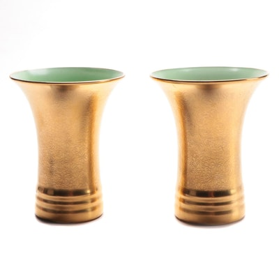 """Pickard """"Rose and Daisy"""" Green Interior Ceramic Trumpet Vases"""