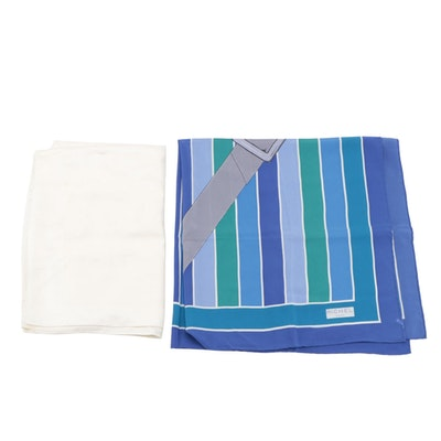 Yves Saint Laurent Monogram Jacquard Wrap and Richel Paris Striped Silk Foulard