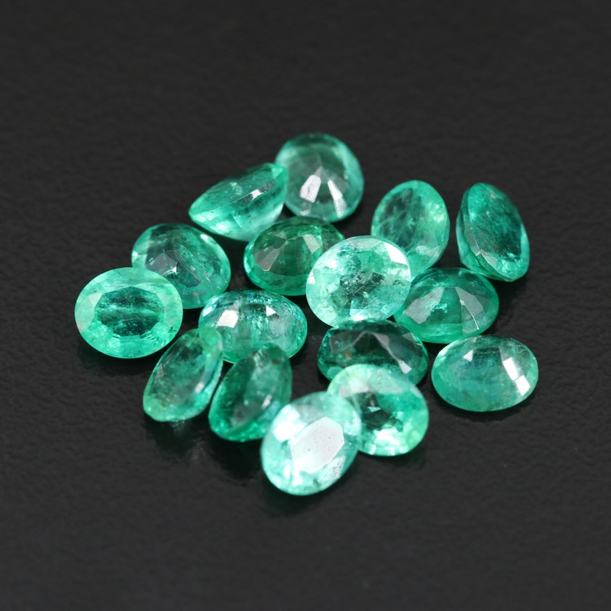 Loose 9.40 CTW Oval Faceted Emerald Gemstones