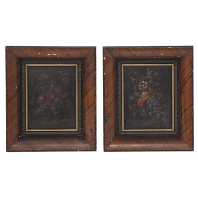 Miniature Floral Still Life Oil Paintings Attributed to Jesus Apellaniz
