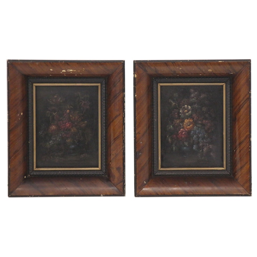 Miniature Floral Still Life Oil Paintings Attributed to Jesus Apellaniz
