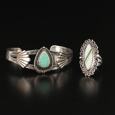 Southwestern Turquoise and Mother of Pearl Stampwork Cuff and Inlay Ring