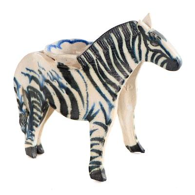 "Gail Paradise Glazed Ceramic ""Zebra Candlestick,"" 1990"