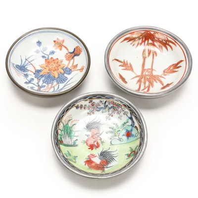Hand-Painted Japanese Porcelain Ware and Metal Bowls