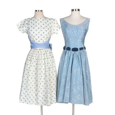 Handmade Floral Print Tea Length Dresses