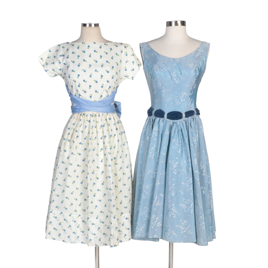 Handmade Floral Print Tea Length Dresses