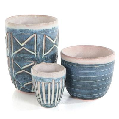 Hal Lasky Glazed Ceramics of Cups and Vase, circa 1950