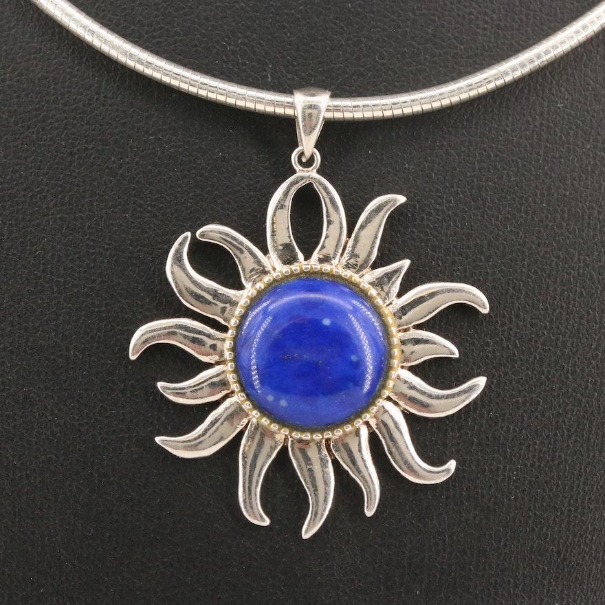 Sterling Silver Lapis Lazuli Sun Pendant Necklace