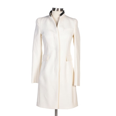 Akris Punto Ivory Wool Coat with Black Vegan Leather Trim Collar