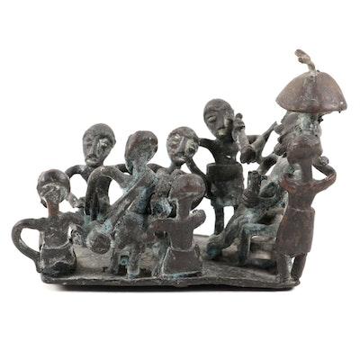 Asante Style Brass Figural Sculpture of a Royal Court, Ghana