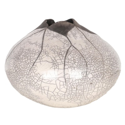 Carlene Sims Raku Fired Vase, 1991