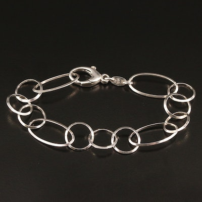 Sterling Silver Oval and Circle Link Bracelet