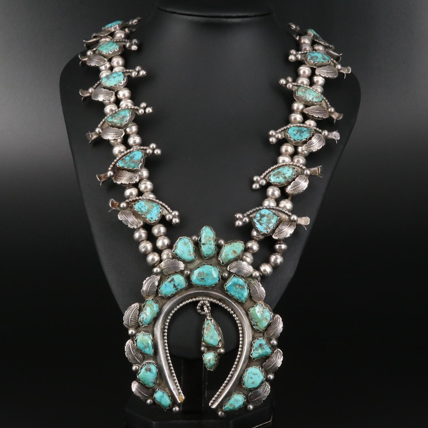 Western Sterling Turquoise Squash Blossom Necklace with Naja Pendant