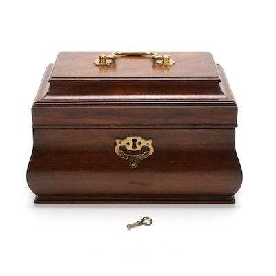Virginia Galleries Henkel-Harris Federal Style Mahogany and Brass Tea Caddy