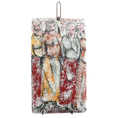 "Raymor Italy Glazed Ceramic ""Four Figures Plaque,"" circa 1950"