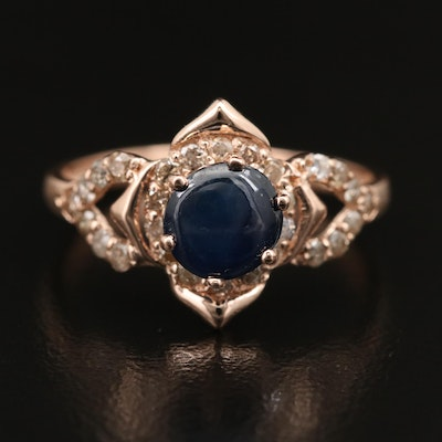 14K Sapphire and Diamond Flower Ring