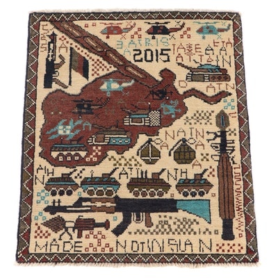 1'11 x 2'4 Hand-Knotted Afghan Pictorial War Rug, 2015