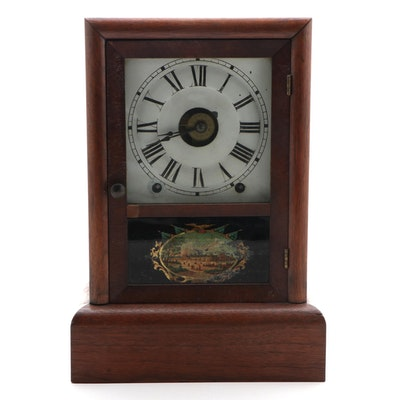 Seth Thomas Oak Mantel Clock with Centennial Exposition Reverse Glass Panel