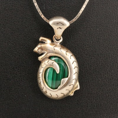 Relios Sterling Malachite Lizard Necklace