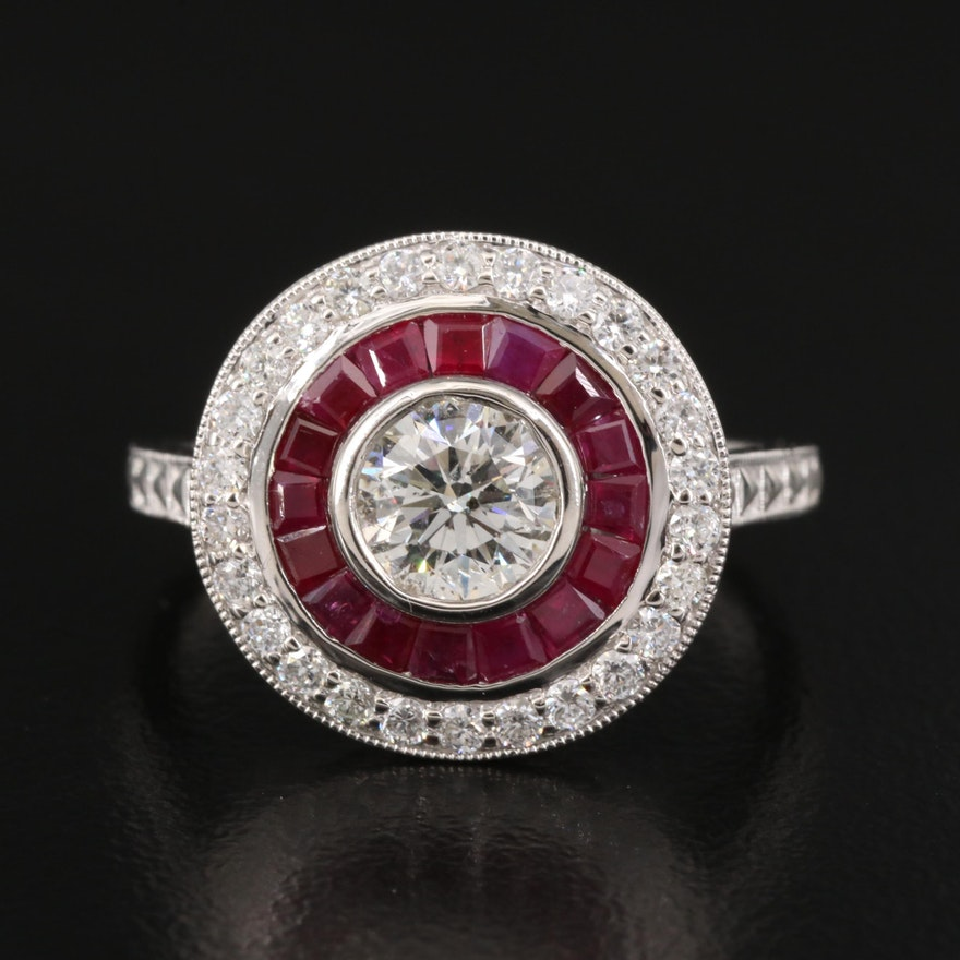 Platinum 1.13 CTW Diamond and Ruby Ring