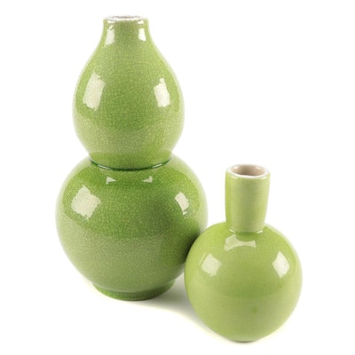 Chinese Green  Crackled Glazed Double Gourd Shaped and Other Porcelain  Vases