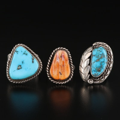 Sterling Silver Rings Featuring Turquoise and Spiny Oyster