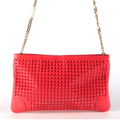 Christian Louboutin Loubiposh Pink Spike Studded Patent Leather Crossbody