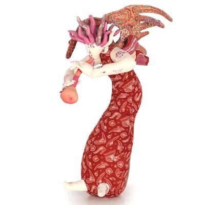 Jeanne Detlor Soft Sculpture Cloth Doll of an Angel, 1977
