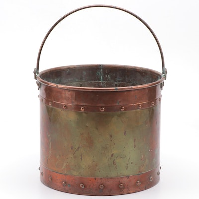 Copper and Brass Riveted Log or Coal Bucket, Antique