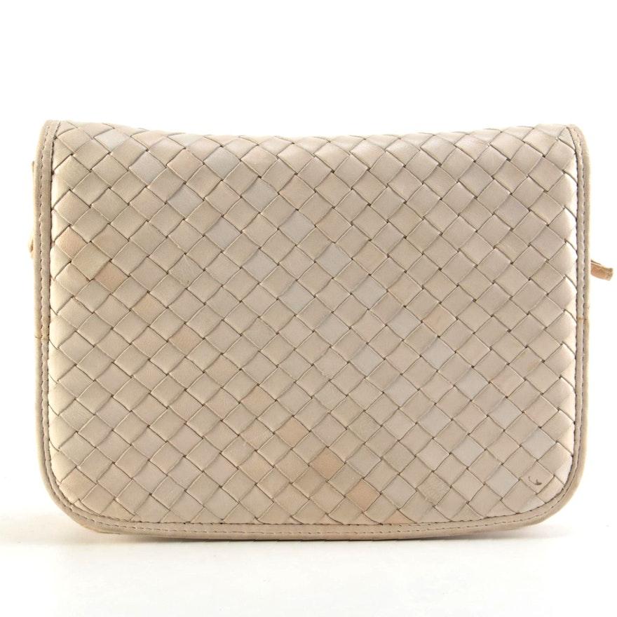 Bottega Veneta Intrecciato Beige Leather Crossbody Bag