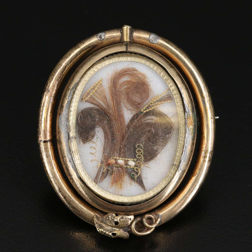 Victorian Reversible Mourning Locket with Prince of Wales Hairwork