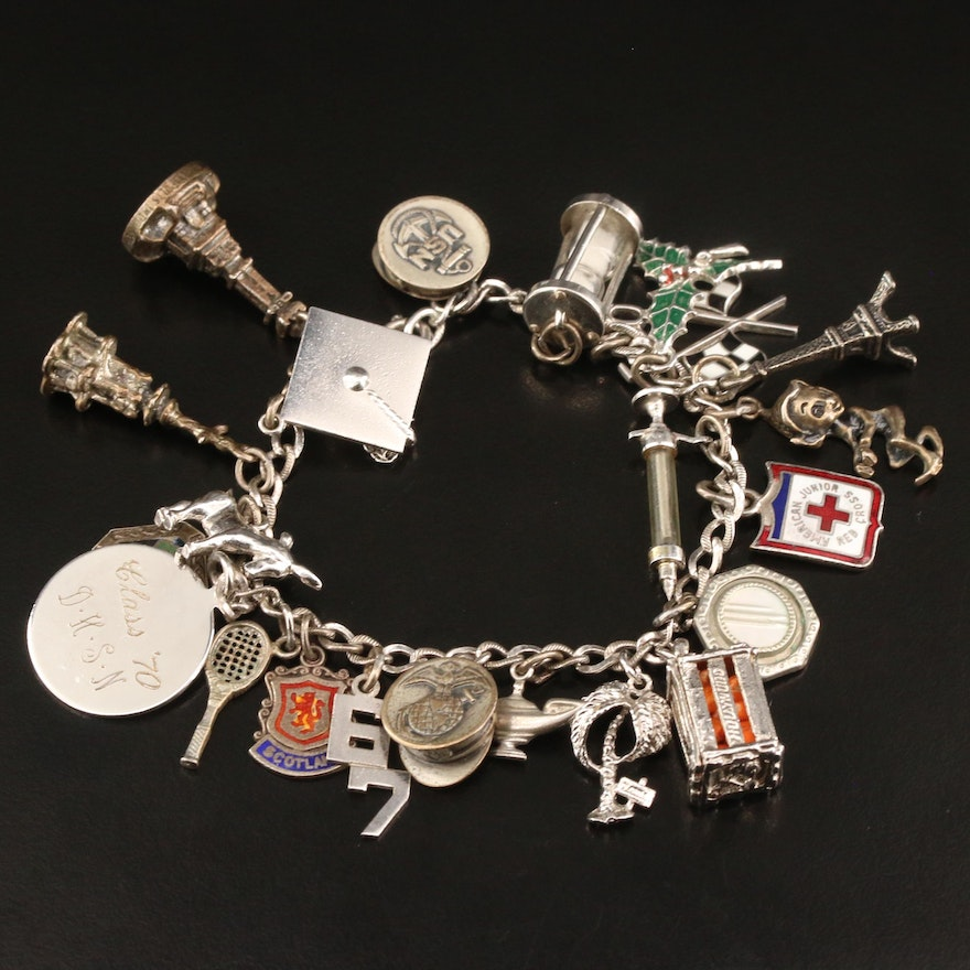 Vintage Sterling Charm Bracelet with Hourglass and Elf Charms