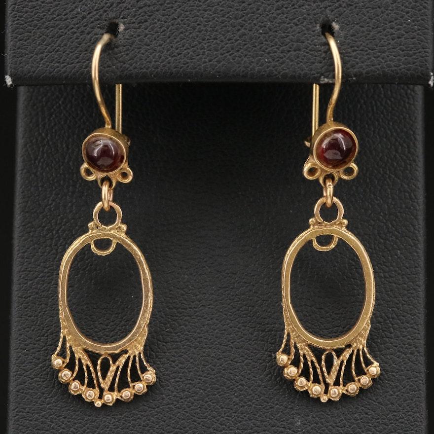 Victorian 14K Garnet Dangle Earrings