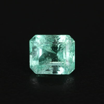 Loose 1.19 CT Cut Corner Square Faceted Emerald